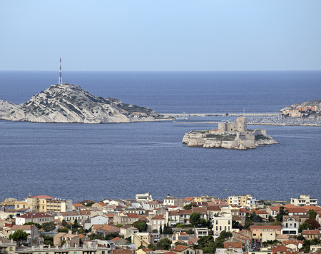 aerial view of the city of marseilles in france