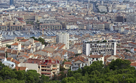aerial view of the city of marseilles in france photo