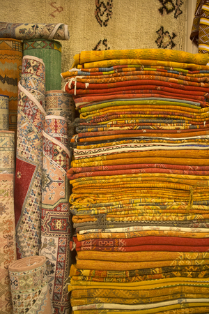berber: colorful carpets of the medina in marrakesh