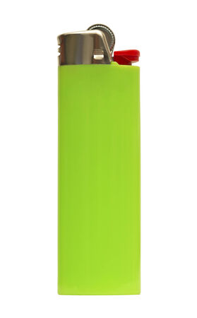 green lighter isolated on white photo