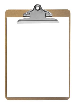 klembord met papier op een witte