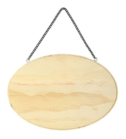 wood panel: isolated wood panel with black metal chain Stock Photo