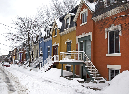 colorful street of Montreal Canada