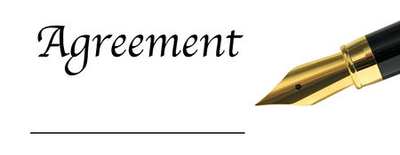 private access: the word Agreement with golden fountain pen