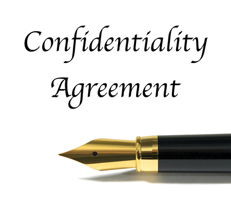 confidentiality: Confidentiality agreement with golden fountain pen Stock Photo