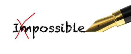 possibility: Possibility concept with golden fountain pen Stock Photo