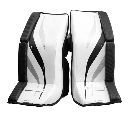 goalie: Ice hockey goalie pads isolated on white Stock Photo