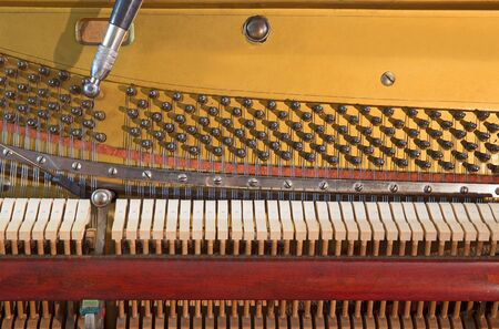 classical mechanics: Interior of an old piano Stock Photo