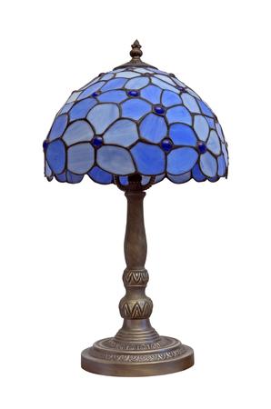 Vintage blauwe lamp op wit wordt geïsoleerd