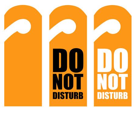 paper hanger: Do Not Disturb Sign - Orange Hotel Door Warning Messages isolated