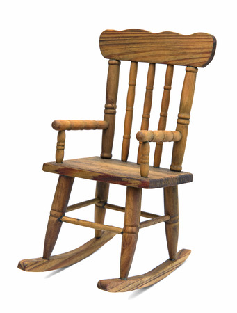 old furniture: old wooden rocking chair on white background