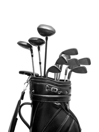 golf stick: Golf clubs in a black leather bag  isolated on white background Stock Photo