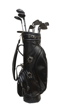 Golf clubs in a black leather bag  isolated on white background Stockfoto