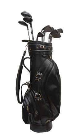Golfclubs in eine schwarze Ledertasche isoliert auf weißem Hintergrund