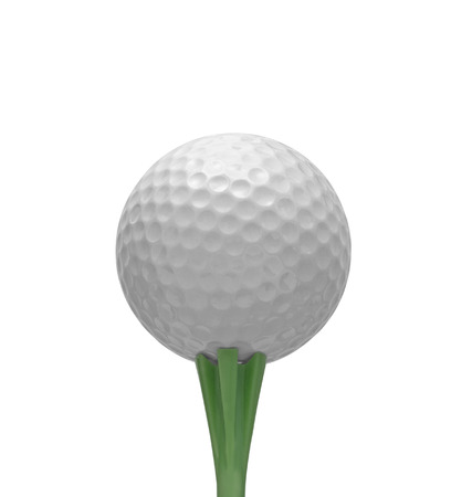 sporting equipment: Golf ball on green tee isolated over white