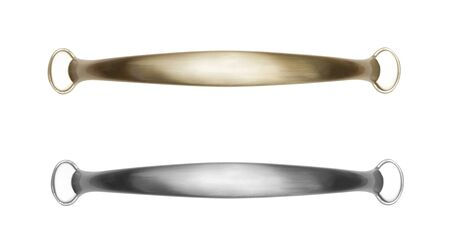 furniture hardware: Brass and silver furniture handle isolated on white