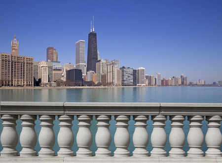chicago city: Chicago city view with reflection Stock Photo
