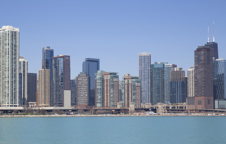 american midwest: View of Chicago from the lake Stock Photo