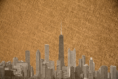 chicago city: Chicago city on vintage canvas Stock Photo