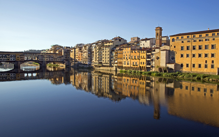 ponte: Morning view of Ponte Vecchio in Florence, Italy Stock Photo