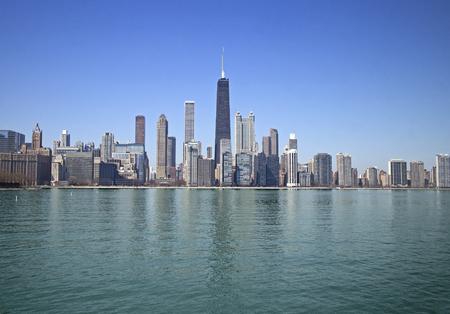 tallest bridge: Skyline of Chicago downtown taken from the lake Stock Photo