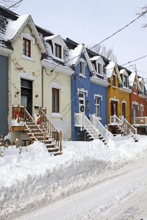 triplex: Street of Montreal city Stock Photo