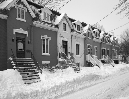 triplex: Street of Montreal city, Black and white