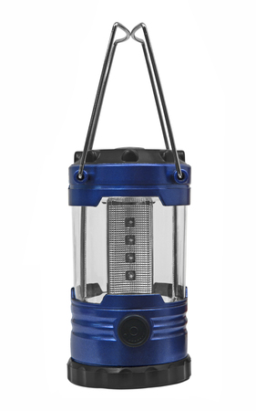 Blue camping lantern isolated on white