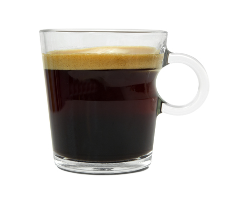 Espresso coffee in a glass cup isolated