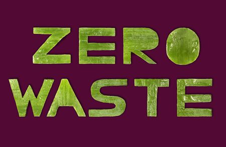 Zero waste label on an isolated background. Letters made of green leaves. Environmental protection. Processing of wastes. Life in new conditions.