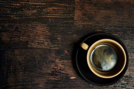 Vintage mockup on wood backdrop. Morning drink. Top view work workplace. Hot drink.