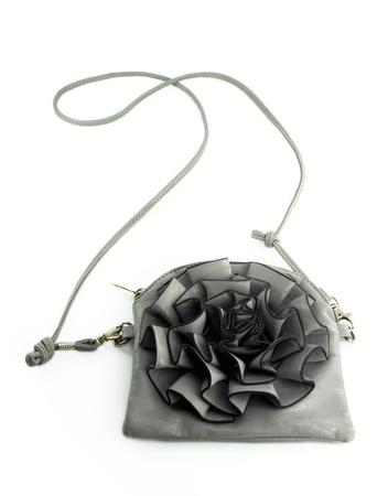 Grey women bag isolated on white background photo