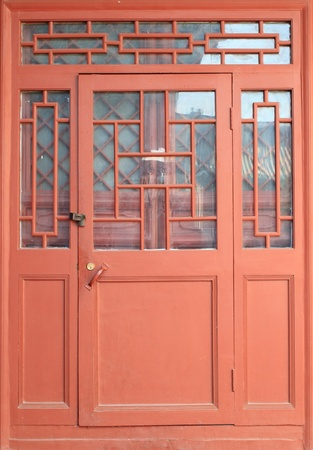 Traditional chinese red door Stock Photo
