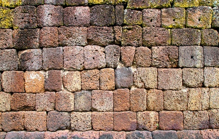 Ancient stone wall in Phanomrung temple, Thailand photo