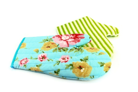 two oven gloves in cyan and green photo