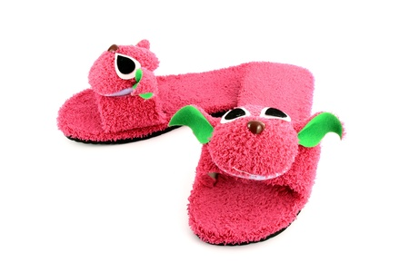 slipper that made as pink on white background photo