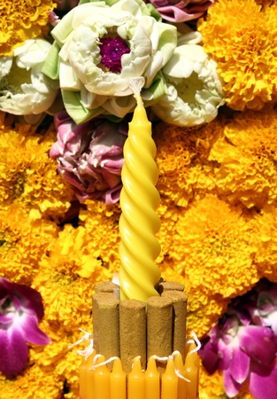 Incense and flowers, orchids, marigold in Loy Krathong festival, Thailand photo