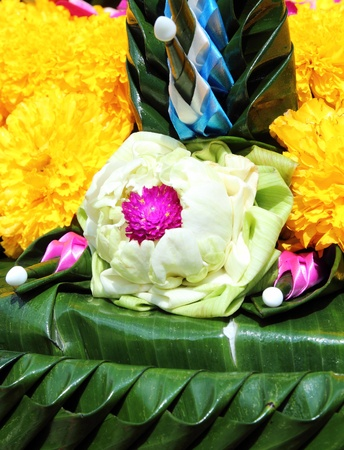 lotus on banana leaf handmate for Loy Kratong festival, Thailand photo