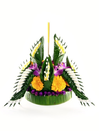 Loy kratong Festival in Thailand, on white background photo
