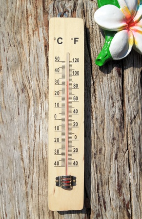 Thermometer on the wooden wall photo