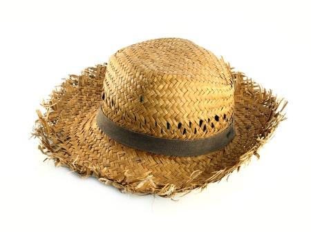 Stro hoed op witte achtergrond Stockfoto