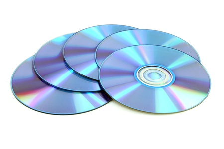 CD & DVD disk on white background