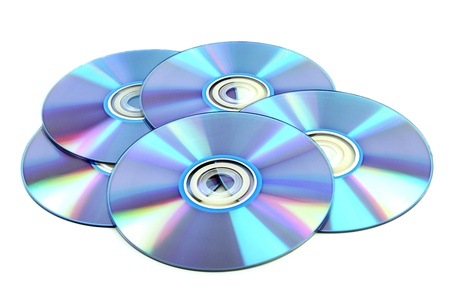 CD & DVD disk on white background photo