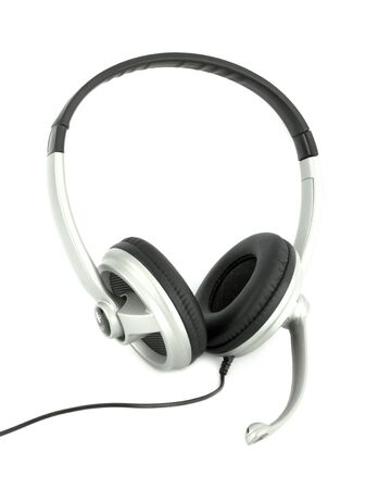 Audio headset with a micro (clipping path) photo