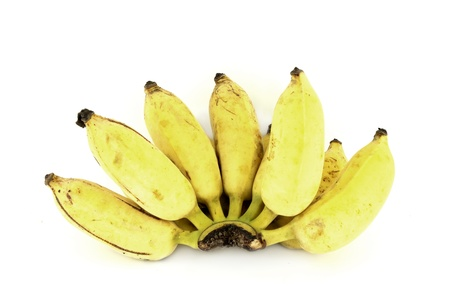 bunch of over ripe bananas on white background photo