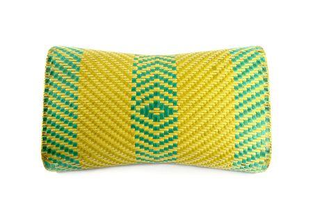 Wicker woven pillow isolated on white , thai Wicker woven pillow Stock Photo - 11310357