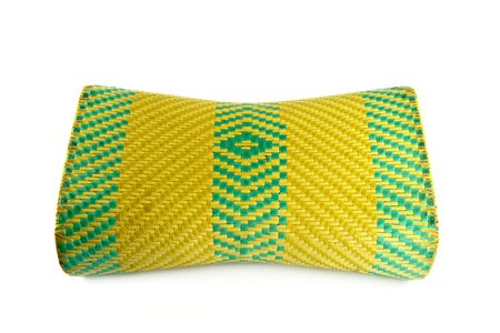 Wicker woven pillow isolated on white , thai Wicker woven pillow photo