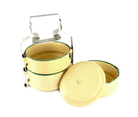 tiffin: Metal Tiffin separate, Food Container On White Background