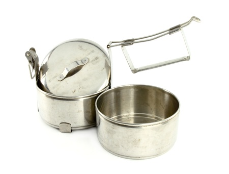 Silver Metal Tiffin separate, Food Container On White Background photo