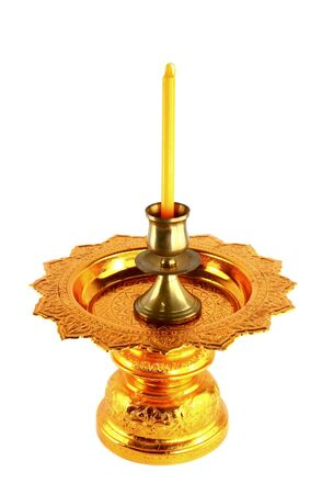 candle holder: candle holder on golden tray isolated on white Stock Photo